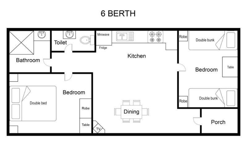 Holiday Unit 6 Berth Floor Plan