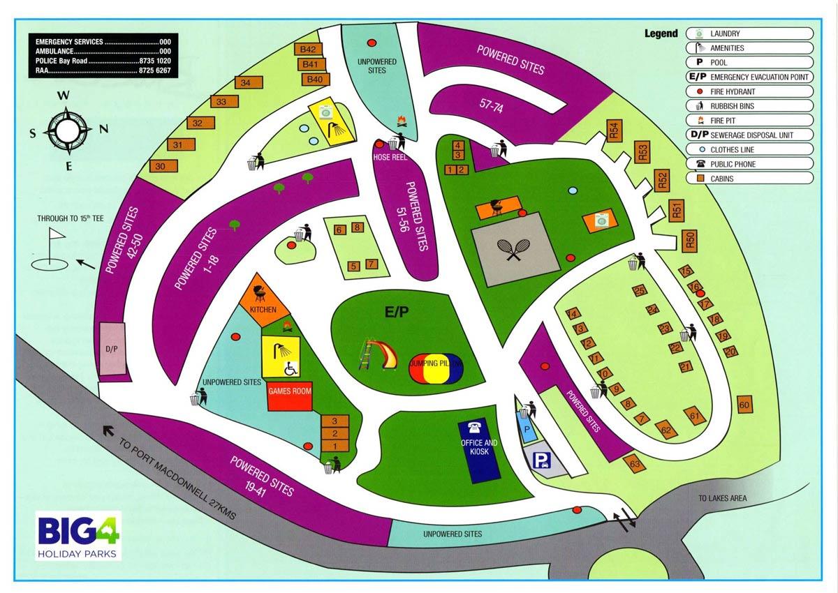 Blue Lake Holiday Park Map